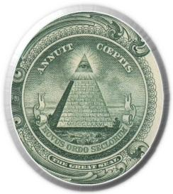 the Great Seal and seal used on the dollar bill, pyramid side