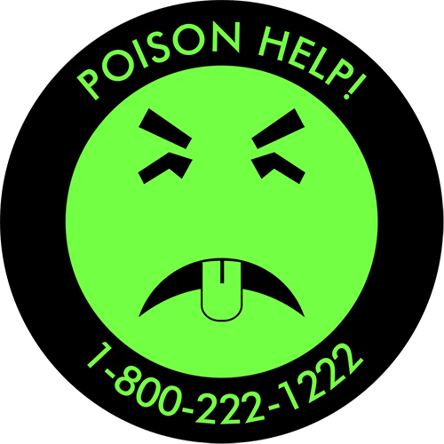 A green smiley face that isn't very smiley. Mr Yuk has a disgusted look on his face and a helpful phone number for poison help: 1-800-222-1222