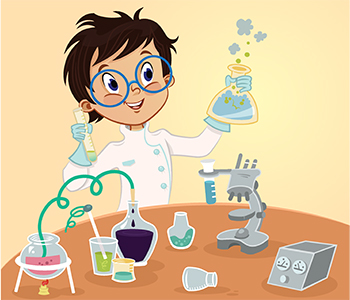 Young scientist with test tubes and beakers