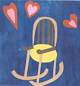 A rocking chair surrounded by loving hearts