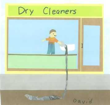 Picture of a dry cleaners polluting the water supply.