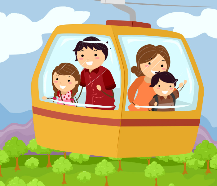 Family on gondola