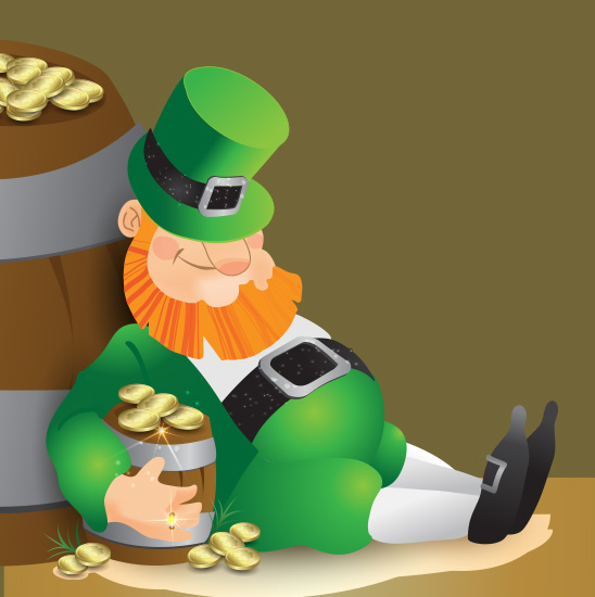 leprechaun sitting down, holding a barrel of gold coins
