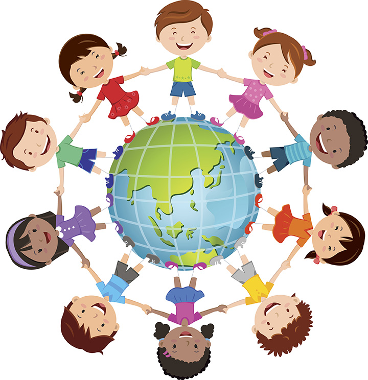 kids in circle around globe