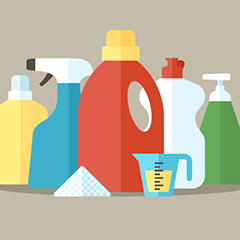 graphic of household cleaner bottles and a measuring cup