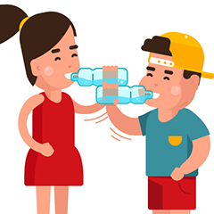 cartoon image of girl and boy drinking from plastic water bottles