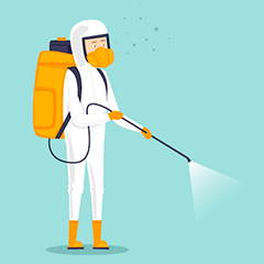 cartoon image of man in a hazmat suit and backpack tank holding a spraying wand