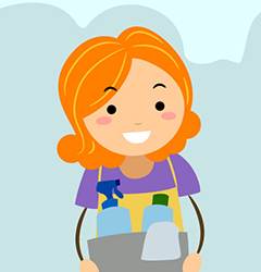 cartoon of girl carrying cleaning supplies