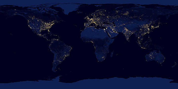 Global map of lights at night