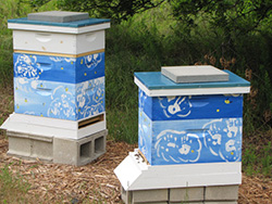 Bee hives decorated by children